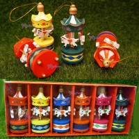 "125852 Miniature Fun Fair Toys - 3.5"" Wooden Carousel (Set of 6)"