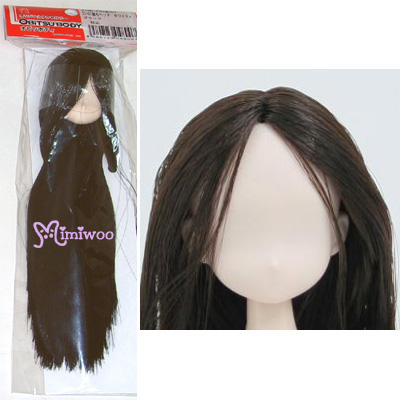 21HD-F01WC02 Obitsu 21cm Female White Head 01 Long D.Brown Hair