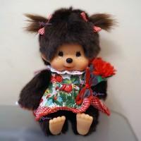 Monchhichi Sitting Plush Flower Girl Strawberry Dress MCC 259939