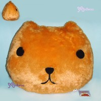 46484A Japan Kapibara San Face 40cm Large Plush Cushion Brown