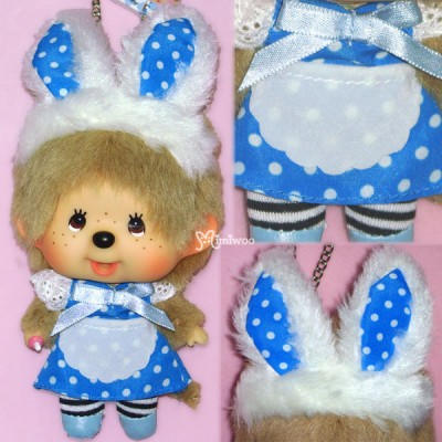 780490 Monchhichi Big Head Tokyo Maid MCC Keychain Mascot Blue