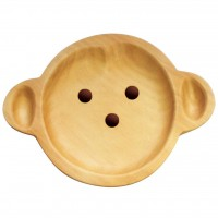 AVLF1010 Japan Baby Kids Wooden Plate Petits et Maman Monkey