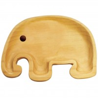 AVLF1030 Japan Baby Kids Wooden Plate Petits et Maman Elephant