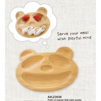 AVLZ2030 Japan Baby Kids Wooden Plate Petits et Maman Panda