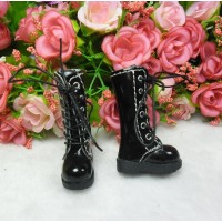 16cm Lati Yellow Blythe Pullip Shoes PU Leather Long Boots BLACK LYS026BLK