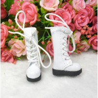 16cm Lati Yellow Blythe Pullip Shoes PU Leather Long Boots WHITE LYS026WHE
