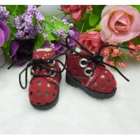 "12"" Blythe Pullip Momoko DAL Obitsu Bjd Doll Shoes Velvet Star Hole Boots Red SHP170RED"