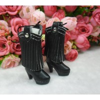 Blythe Momoko Doll Shoes PU Leather Tessel High Heel Boots Black SHP191BLK