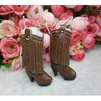 Blythe Momoko Doll Shoes PU Leather Tessel High Heel Boots Brown SHP191BRN