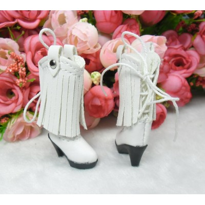 Blythe Momoko Doll Shoes PU Leather Tessel High Heel Boots White SHP191WHE
