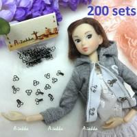Bjd Doll Dress DIY Craft Mini Hook & Eye Closing Black 200 sets NDA036SXBLK