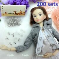 BJD Doll Dress DIY Crafts Mini Hook & Eye Closing Silver 200 sets NDA036SXSLR