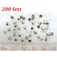 DIY Material Crafts Mini Mushroom Rivet 3mm Silver (200pcs) NDA045SXSLR