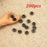 DIY Materials Round 3mm Metal Mini Button Drk Grey 200pcs NDB033SXDGY