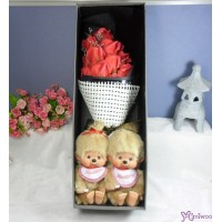 Monchhichi S Size Beige + Soap Flower Rose Gift Box Set