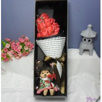 Monchhichi S Size Fleur Girl + Soap Flower Rose Gift Box Set
