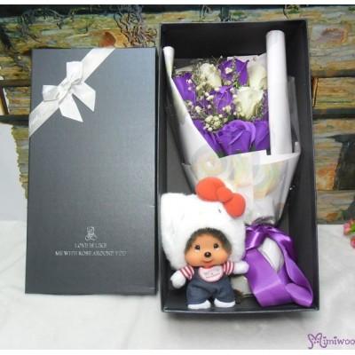 Hello Kitty Monchhichi Mascot + Soap Flower Rose Gift Box Set S007