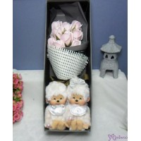 Monchhichi S Size Platinum + Soap Flower Rose Gift Box Set
