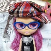 HSM011BLE04 Blythe Doll Mimi Plastic Blue Glasses Purple Lens