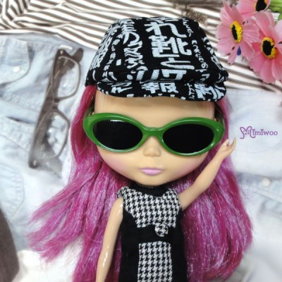 HSM011GRN02 Blythe Doll Mimi Plastic Green Glasses Black Lens