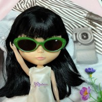 HSM011GRN03 Blythe Doll Plastic Mimi Glasses Green w Brown Lens