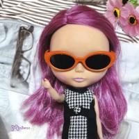 HSM011ORE02 Blythe Doll Mimi Plastic Orange Glasses Black Lens