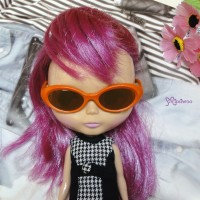 HSM011ORE03 Blythe Doll Plastic Mimi Orange Glasses Brown Lens