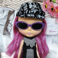 HSM011PUE02 Blythe Doll Mimi Plastic Purple Glasses Black Lens