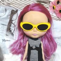HSM011YEW02 Blythe Doll Mimi Plastic Yellow Glasses Black Lens