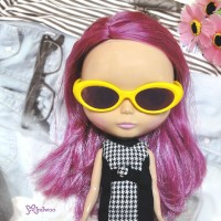 HSM011YEW03 Blythe Doll Mimi Plastic Yellow Glasses Brown Lens
