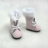 Middie B 2.2cm Doll Shoes Plushy Boots Pink SBB020PNK