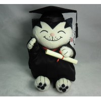 Jacob Cat 25cm Stuffed Plush - White Graduation JC25111B