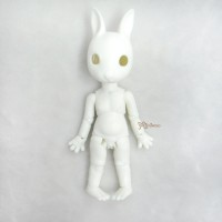 KLM01-WHE Hujoo Mini Bunny Bjd Nude Doll Little Minipin White