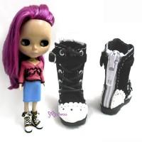 Lati Yellow Blythe Shoes Velvet Shoelace Boots Black LYS014BLK