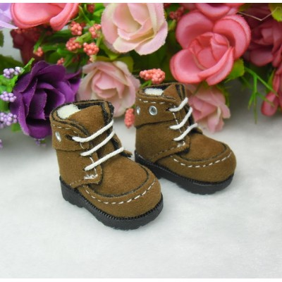 16cm Lati Yellow Basic Blythe Pullip Shoes Velvet Hole Boots Brown LYS025BRN
