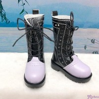 SHM041BPE MSD DOC 1/4 bjd doll Shoes PU Leather Causal Boots Black & Purple