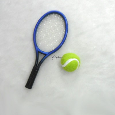1/6 Doll Miniature Tennis Racket + Ball Blue YC0074BLE