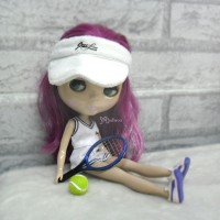 1/6 Doll Miniature Tennis Racket + Ball Blue YC0074BLE