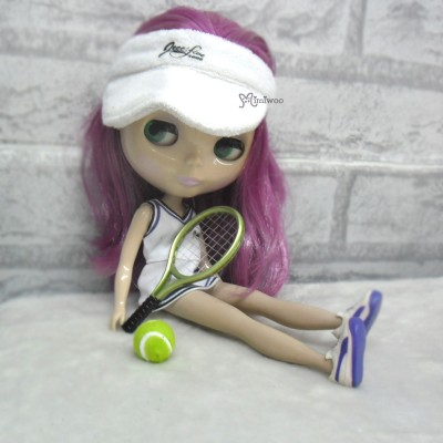 1/6 Doll Miniature Tennis Racket + Ball Green YC0074GRN