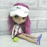 1/6 Doll Miniature Tennis Racket + Ball Red YC0074RED