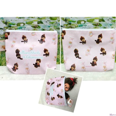 Monchhichi PU Leather 2 Side Printed Handbag Hand Bag with Zipper 22 x 18cm 134002