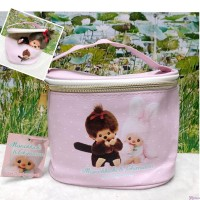 Monchhichi PU Leather Round Handbag Makeup Bag with Zipper 16 x 12 x 12cm 135001