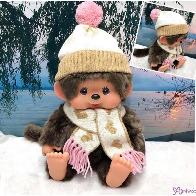 Monchhichi 2018 Warm Knit 35cm Soft Head L Size Girl Plush 200627