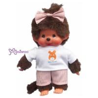 Sekiguchi Monchhichi S Size Dressed Orange Stripe Girl 222530