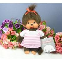 Monchhichi 20cm Plush Dressed MCC Pink Stripe Girl 222980