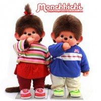 Monchhichi 2L 80cm DVD Anime MCC Boy & Girl (PAIR) 231500+231510