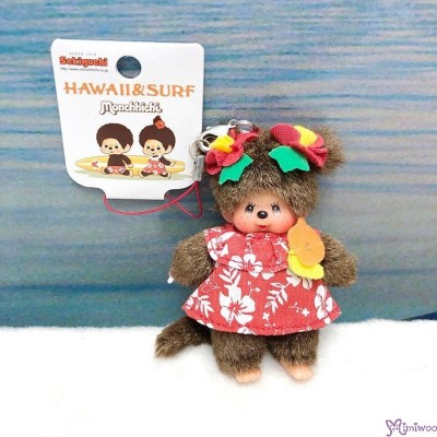Monchhichi Cell Phone Strap Mascot Hawaii & Surf Girl Mini Plush  234700
