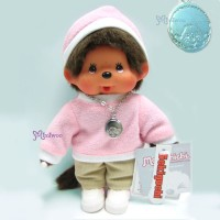 Monchhichi 20cm Fleece Cap & Sweat Girl Pink 236030