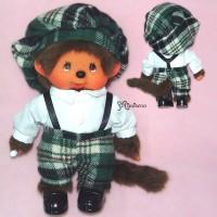 Monchhichi S Size Plush Fashion Green Tartan Boy 236150