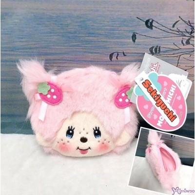 Monchhichi Strawberry & Heart Plush Zipper Coin Bag 236850